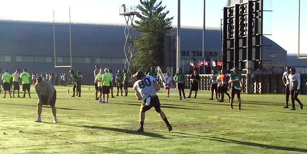 Sean Culkin (80) catches a pass during game 6 of Mizzou fall football camp on Tuesday, August 11, 2015.