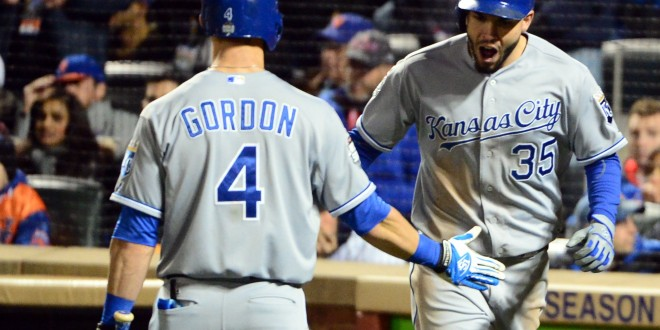 Oct 31, 2015; New York City, NY, USA; Kansas City Royals first baseman Eric Hosmer (35) celebrates with left fielder Alex Gordon (4) after scoring a run against the New York Mets in the 8th inning in game four of the World Series at Citi Field. Mandatory Credit: Jeff Curry-USA TODAY Sports
