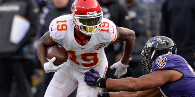 Dec 20, 2015; Baltimore, MD, USA; Kansas City Chiefs wide receiver Jeremy Maclin (19) runs past Baltimore Ravens inside linebacker Daryl Smith (51) during the fourth quarter at M&T Bank Stadium. Kansas City defeated Baltimore 34-14. Mandatory Credit: Tommy Gilligan-USA TODAY Sports