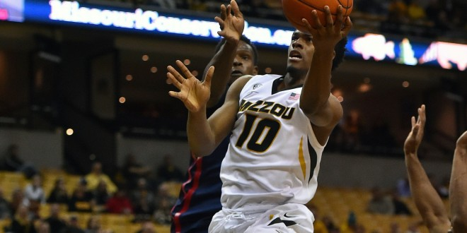 Feb 3, 2016; Columbia, MO, USA; Missouri Tigers guard K.J. Walton (10) shoot the ball against the Mississippi Rebels during the second half at Mizzou Arena. The Mississippi Rebels defeat the Missouri Tigers 76-73. Mandatory Credit: Jasen Vinlove-USA TODAY Sports
