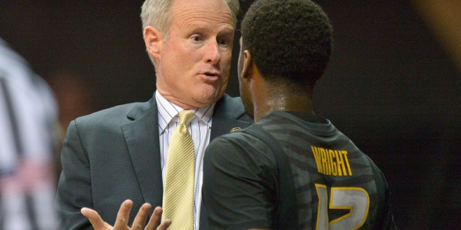 Feb 10, 2016; Nashville, TN, USA; Missouri Tigers head coach Doug Shows talks with Tigers guard Namon Wright (12) during the second half against the Vanderbilt Commodores at Memorial Gym. Vanderbilt won 86-71. Mandatory Credit: Jim Brown-USA TODAY Sports