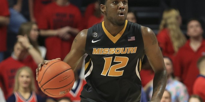 Feb 23, 2016; Oxford, MS, USA; Missouri Tigers guard Namon Wright (12) brings the ball up court during the second half against the Mississippi Rebels at The Pavilion at Ole Miss. Mississippi Rebels defeats the Missouri Tigers 85-76.  Mandatory Credit: Spruce Derden-USA TODAY Sports