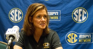 Oct 21, 2014; Charlotte, NC, USA; Missouri Tigers head coach Robin Pingeton speaks with the media during the SEC media day held at the Ballantyne Hotel. Mandatory Credit: Jeremy Brevard-USA TODAY Sports