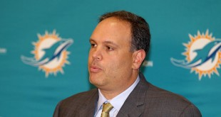 Jan 9, 2016; Davie, FL, USA; Miami Dolphins executive vice president football operations Mike Tannenbaum addresses reporters during a press conference at Doctors Hospital Training Facility. Mandatory Credit: Steve Mitchell-USA TODAY Sports