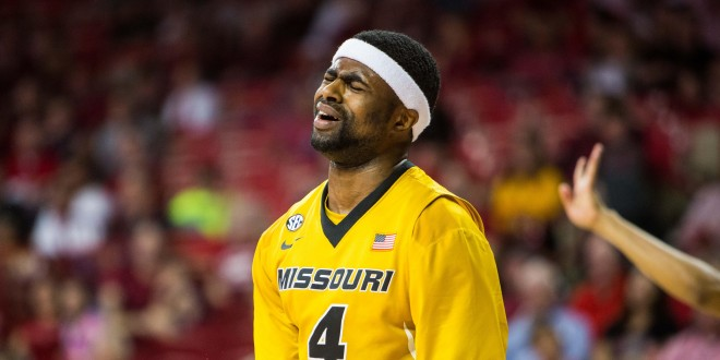 Feb 20, 2016; Fayetteville, AR, USA; Missouri Tigers Tramaine Isabell (4) reacts after being called for a foul against the Arkansas Razorbacks in the second half of a game at Bud Walton Arena. The Razorbacks won 84-72. Mandatory Credit: Gunnar Rathbun-USA TODAY Sports