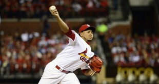 Sep 25, 2015; St. Louis, MO, USA; St. Louis Cardinals starting pitcher Carlos Martinez (18) pitches to a Milwaukee Brewers batter during the first inning at Busch Stadium. Mandatory Credit: Jeff Curry-USA TODAY Sports
