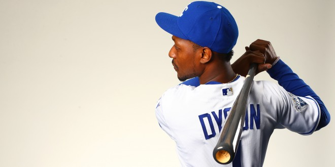 Feb 25, 2016; Surprise, AZ, USA; Kansas City Royals outfielder Jarrod Dyson poses for a portrait during photo day at Surprise Stadium. Mandatory Credit: Mark J. Rebilas-USA TODAY Sports