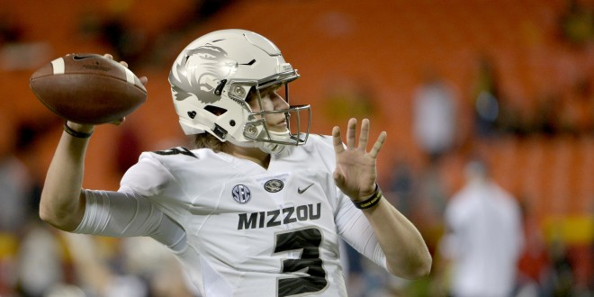 Nov 14, 2015; Kansas City, MO, USA; Missouri Tigers quarterback Drew Lock (3) warms up before the game against the Brigham Young Cougars at Arrowhead Stadium. Mandatory Credit: Denny Medley-USA TODAY Sports