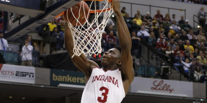 Mar 11, 2016; Indianapolis, IN, USA; Indiana Hoosiers forward OG Anunoby (3) dunks against the Michigan Wolverines during the Big Ten Conference tournament at Bankers Life Fieldhouse. Michigan wins 72-69. Mandatory Credit: Brian Spurlock-USA TODAY Sports