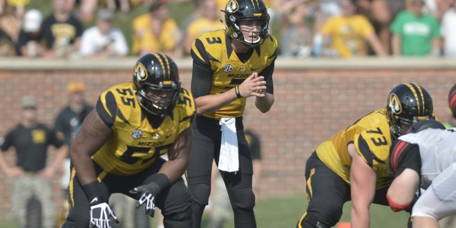 Sep 5, 2015; Columbia, MO, USA; Missouri Tigers quarterback Drew Lock (3) calls for the snap during the first half against the Southeast Missouri State Redhawks at Faurot Field. Mandatory Credit: Denny Medley-USA TODAY Sports