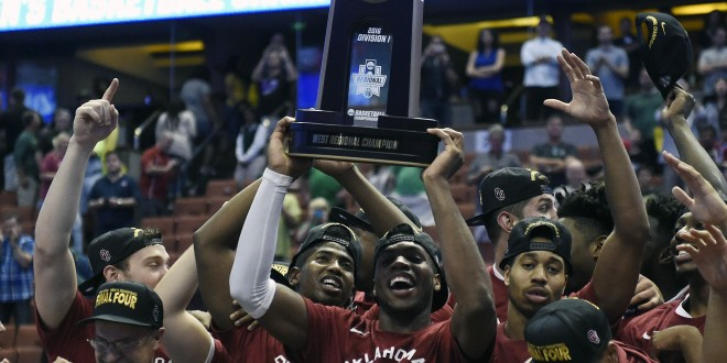 March 26, 2016; Anaheim, CA, USA; Oklahoma Sooners guard Buddy Hield (24) celebrates the 80-68 victory against Oregon Ducks to win the West regional final of the NCAA Tournament at Honda Center. Mandatory Credit: Richard Mackson-USA TODAY Sports