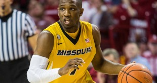 Feb 20, 2016; Fayetteville, AR, USA; Missouri Tigers guard Terrence Phillips (1) dribbles the ball in the second half of a game with the Arkansas Razorbacks at Bud Walton Arena. The Razorbacks won 84-72. Mandatory Credit: Gunnar Rathbun-USA TODAY Sports