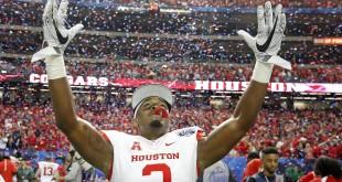 Dec 31, 2015; Atlanta, GA, USA; Houston Cougars cornerback William Jackson III (3) celebrates after defeating the Florida State Seminoles 38-24 during the 2015 Chick-fil-A Peach Bowl at the Georgia Dome. Mandatory Credit: Jason Getz-USA TODAY Sports