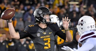 Nov 5, 2015; Columbia, MO, USA; Missouri Tigers quarterback Drew Lock (3) attempts a pass against the Mississippi State Bulldogs during the first half at Faurot Field. Mandatory Credit: Jasen Vinlove-USA TODAY Sports