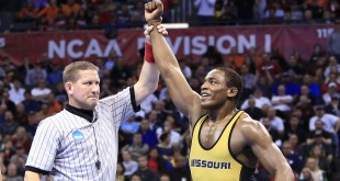 Mar 22, 2014; Oklahoma City, OK, USA; J'Den Cox of Missouri defeated Nick Heflin of Ohio State to win the 197 lb finals in the NCAA wrestling Division I championship at Chesapeake Energy Arena. Mandatory Credit: Alonzo Adams-USA TODAY Sports