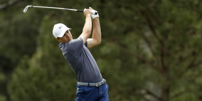Apr 6, 2016; Augusta, GA, USA; Jordan Spieth hits his tee shot on the 15th hole during a practice round prior to the 2016 The Masters golf tournament at Augusta National Golf Club. Mandatory Credit: Rob Schumacher-USA TODAY Sports
