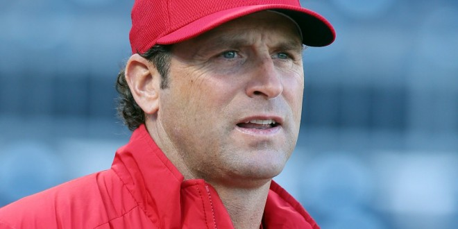 Apr 5, 2016; Pittsburgh, PA, USA; St. Louis Cardinals manager Mike Matheny (22) looks on before playing the Pittsburgh Pirates at PNC Park. Mandatory Credit: Charles LeClaire-USA TODAY Sports