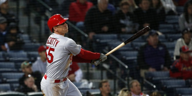 Apr 8, 2016; Atlanta, GA, USA; St. Louis Cardinals left fielder Stephen Piscotty (55) hits a solo home run in the ninth inning of their game against the Atlanta Braves at Turner Field. The Cardinals won 7-4. Mandatory Credit: Jason Getz-USA TODAY Sports