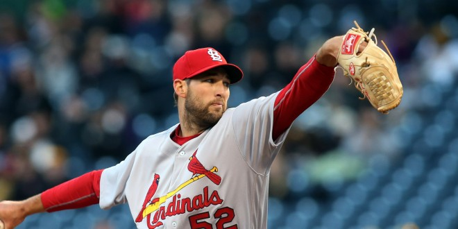 Apr 5, 2016; Pittsburgh, PA, USA; St. Louis Cardinals starting pitcher Michael Wacha (52) delivers a pitch against the Pittsburgh Pirates during the first inning at PNC Park. Mandatory Credit: Charles LeClaire-USA TODAY Sports